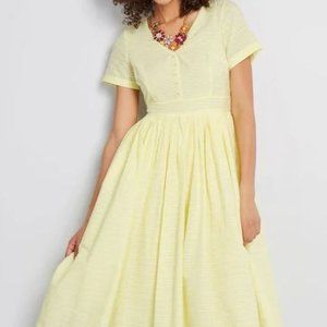 Modcloth Yellow Fit and Flare Shirt Dress